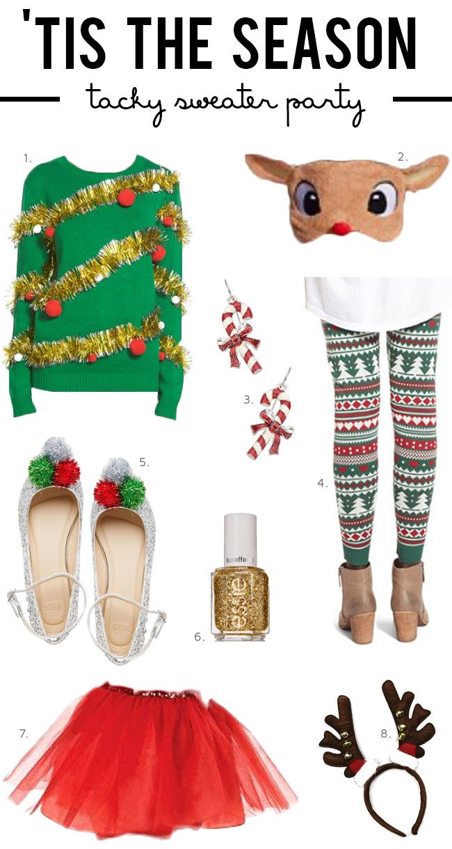 ONE   Tacky Christmas Sweater   |   TWO   Rudolf Mask   |   THREE   Candy Cane Earrings   |   FOUR   Christmas Leggings   |   FIVE   Tinsel Ballet Flats   |   SIX   Gold Glitter Polish   |   SEVEN   Red Tutu   |   EIGHT  ...Continue Reading