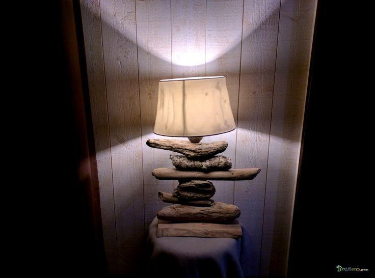 Lampe bois flott classique froiss e lampe de taille for Traitement bois flotte