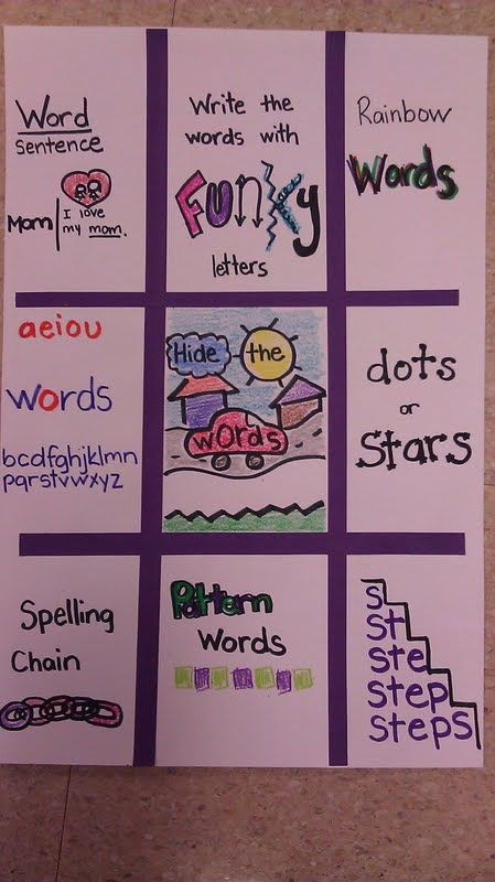 Spelling word practice. If we used a board like this, it would save us from having to photocopy those packets every week. We'd be able to do just a front & back page for vocab list and spelling list instead.(And plus, these activities are way more fun than the current ones we assign.)