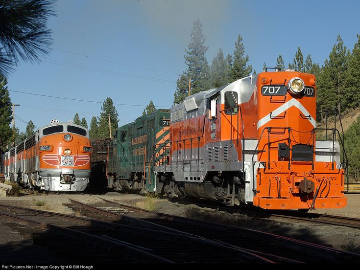 WP 707 Western Pacific EMD GP7 with SN 712. WP 805-A is on the adjacent track, at Portola, California by Bill Hough