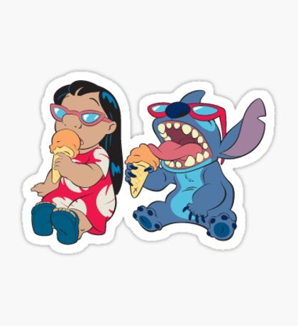 lilo and stitch eating ice cream Pegatina
