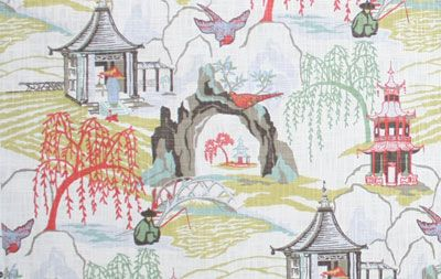 Neo Toile, Coral (coral pink, jade, celery heart yellow, aqua, periwinkle blue, taupe and cream)