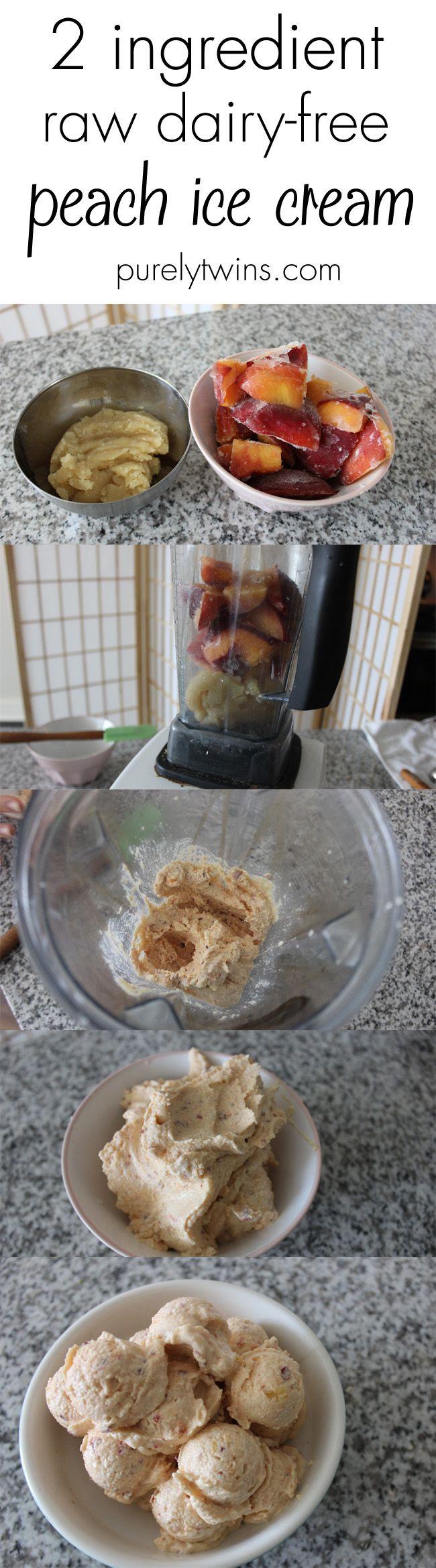 2 ingredient raw dairy-free peach ice cream purelytwins without icecream maker