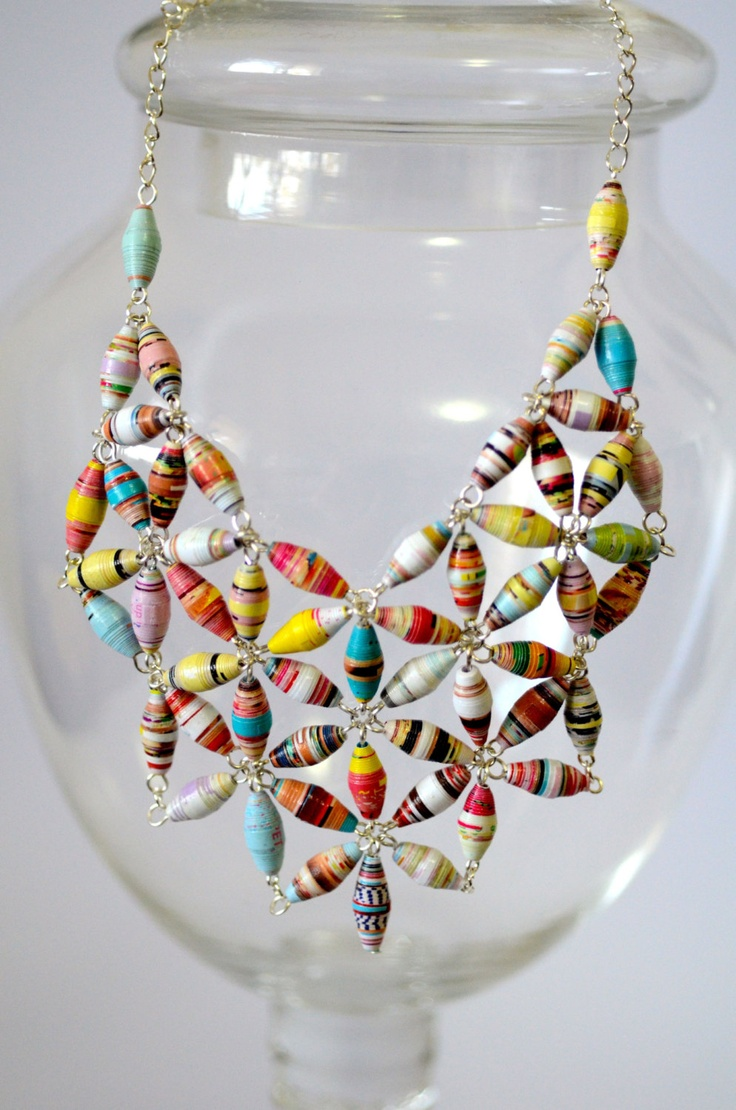 paper bead jewelry Diy: hand rolled paper bead necklace may 1  they are fun-and the jewelry you make from the beads is super light, which is nice too reply wanda bowen says.