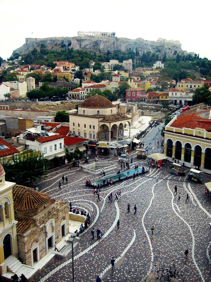 Monastiraki is a flea market neighborhood in the old town of Athens, Greece