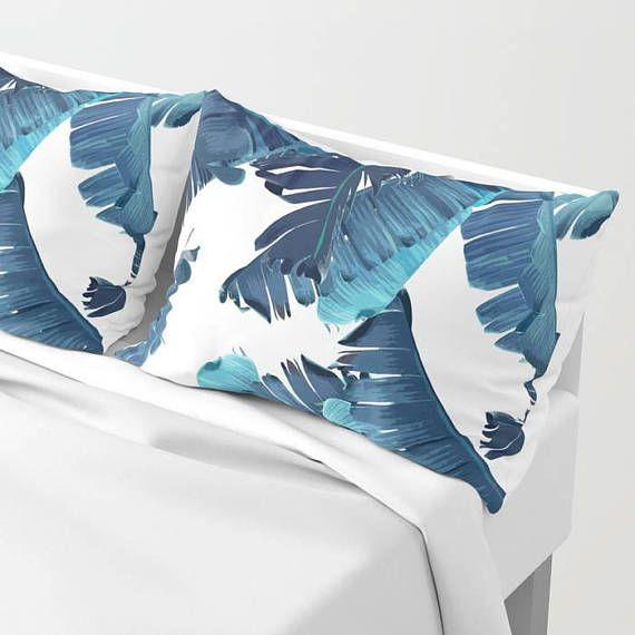 Blue Pillow Sham Set Banana Leaf Pillow Case Tropical Bedroom Coastal Decor Standard Sham King Sham Tropical Pillowcase Blue Bedding by OlaHolaHolaBaby