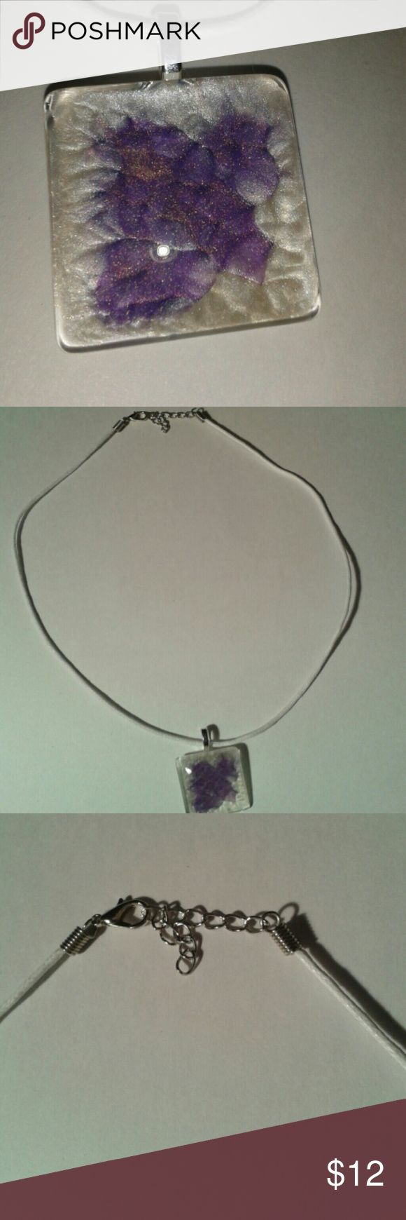 WHITE & PURPLE NECKLACE Handcrafted, adjustable necklace, white cord, glass square shape. Prisme Fantasy paint colors are eggshell white and pearl violins. Price is firm. Handcrafted by Lora May Jewelry Necklaces