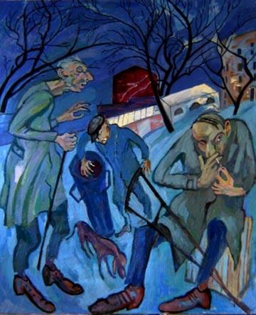 Maxim Kantor - Three beggars (2007-2008), Oil on canvas 250x200cm