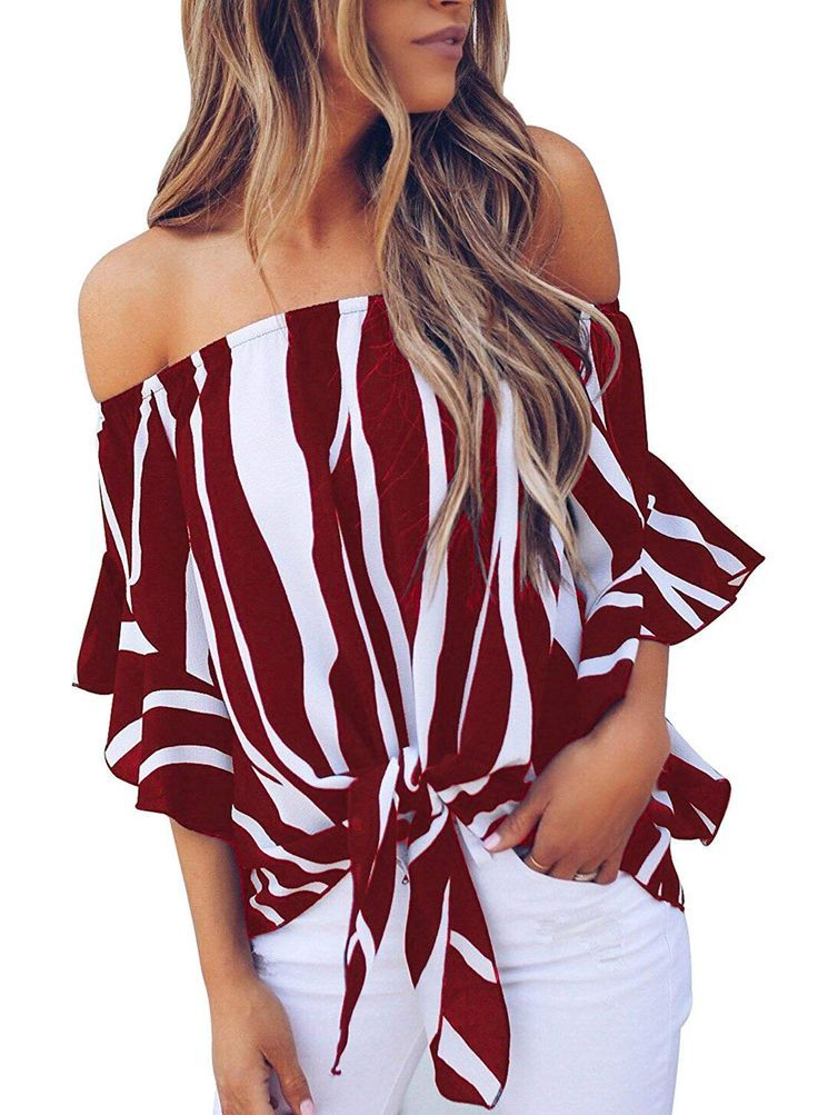 Women Loose Blouses  Striped Off Shoulder Bell Sleeve Shirt Tie Knot Casual