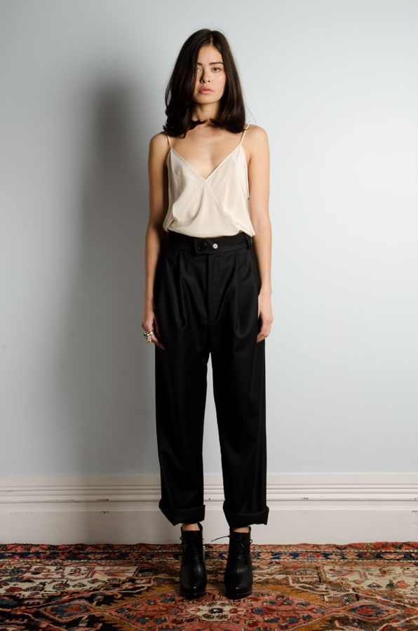 Women's Beige Tank, Black Wide Leg Pants, Black Leather Ankle Boots