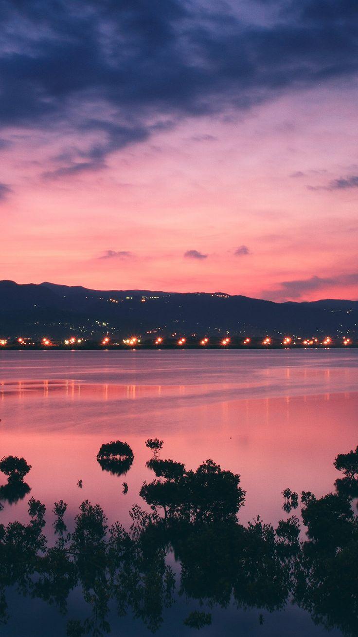 River Bank City Sunset Landscape #iPhone #6 #plus #wallpaper
