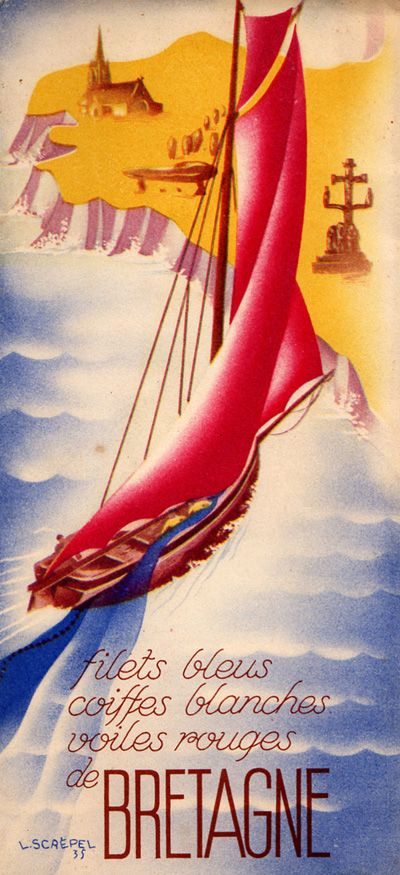 Bretagne / Brittany, France. Colorful travel poster with sailboat.