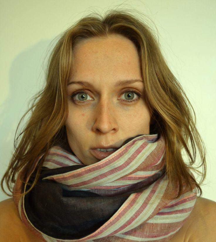 Striped double sided infinity linen scarf-cowl on framestr.com