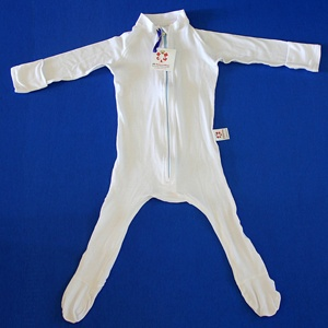 Toddler suit with hand mitts to prevent eczema scratching