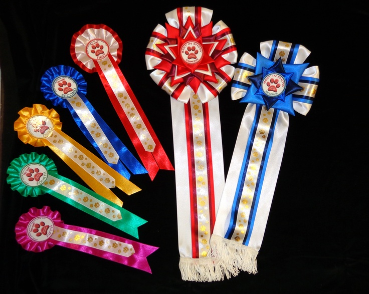Dog Show Rosettes with Best In Show Rosettes! See the size of these Luxury Rosettes! Created with 100mm width ribbons inlaid with 50mm, 38mm ribbons and 25mm printed ribbon with gold dog paws on white satin ribbon.  Please contact us to design your unique rosettes!