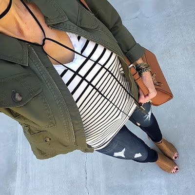 Olive Military Jacket, Stripe Tee, Black Choker Necklace | On the Daily EXPRESS | Instagram: @ontheDailyX