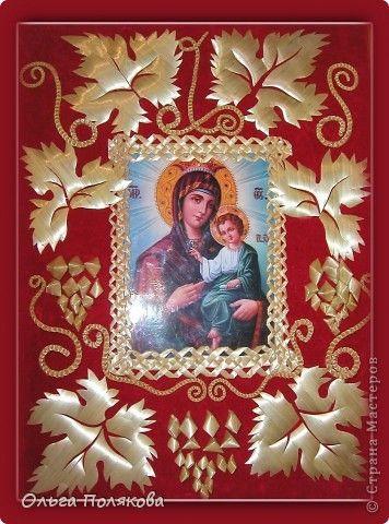 Картина панно рисунок Пасха Рождество Аппликация Плетение Оклад иконы Соломка фото 1