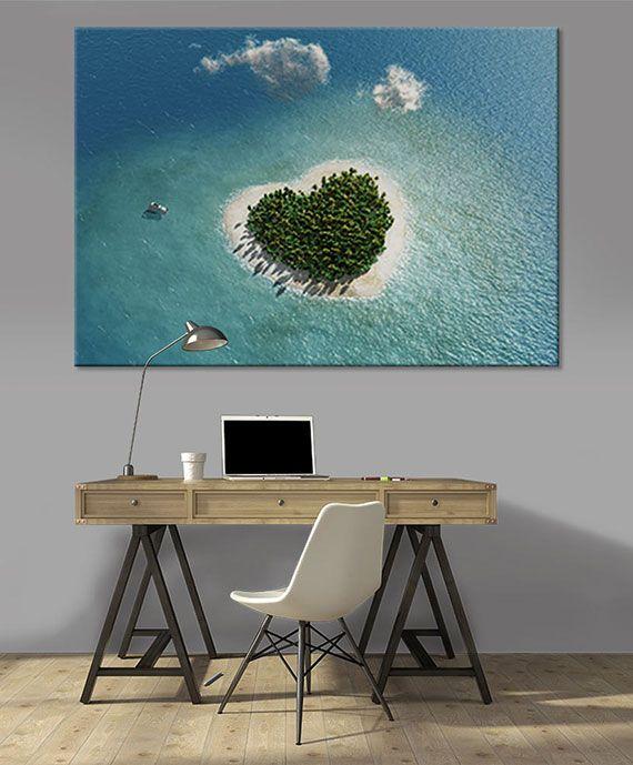 Tableau géant love island par scenolia déco romantique île en forme de cœur