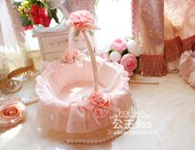 Gratis Verzending Bruiloft Kant Bloem Meisje Mand Roze Bruiloft Bloem Mand Voor Bruiloft(China (Mainland))