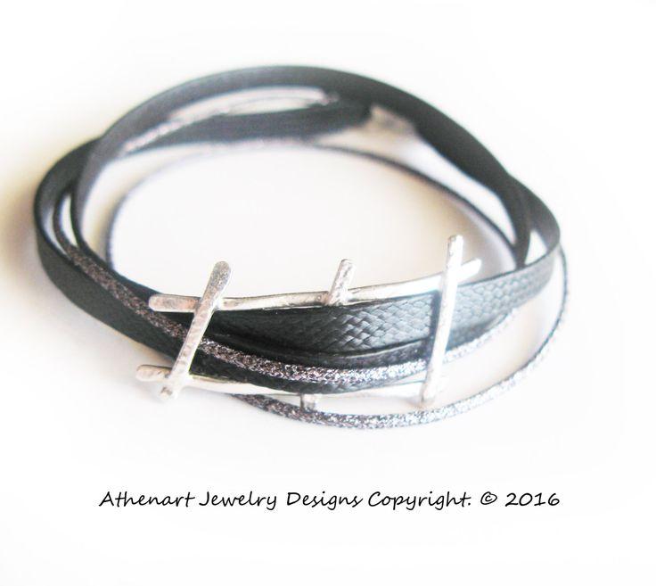 Minimalist Silver bracelet/multi cord bracelet/unique bracelet/silver ladder motif/greek jewelry designer/minimalist bracelet/rockert/urban