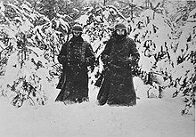 Battle of Moscow - German soldiers in heavy snow west of Moscow-The temperature dropped far below freezing. On 30 November, von Bock reported to Berlin that the temperature was –45 °C (–49 °F).[58] General Erhard Raus, commander of the 6th Panzer Division, kept track of the daily mean temperature in his war diary. It shows a suddenly much colder period during 4–7 December: from –36 to –38 °C (–37 to –38 °F)