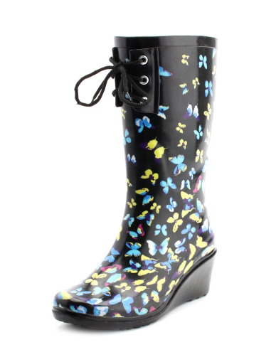 butterfly wedge rain boot