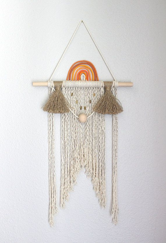 """Macrame Wall Hanging """"Sunset no.4"""" by HIMO ART, One of a kind Handcrafted Macrame/Rope art"""