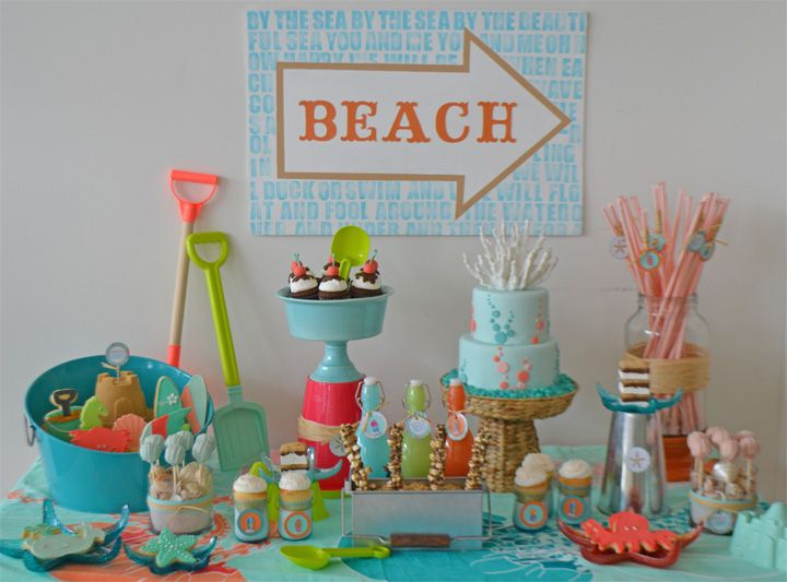 Beach themed dessert display by Sweet Design Company for Bake Sale's windows.