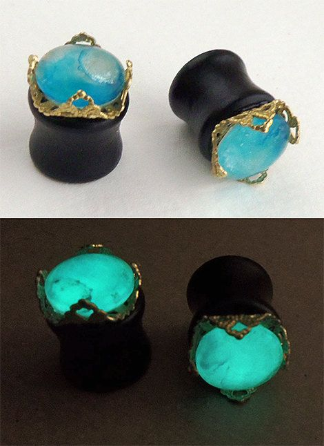 1/2 inch Glow in the Dark Plugs  Wood Brass and Glass by esanany, $17.00