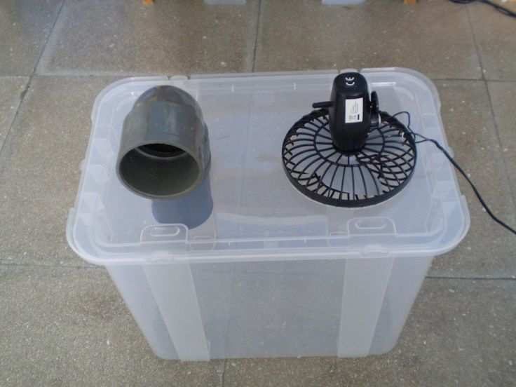 Simple Cheap Air Conditioner  Nice idea. I wonder how well it would work.? Why not just have the fan itself? I can see ice in the tote working for a bit, it'd be a pain.