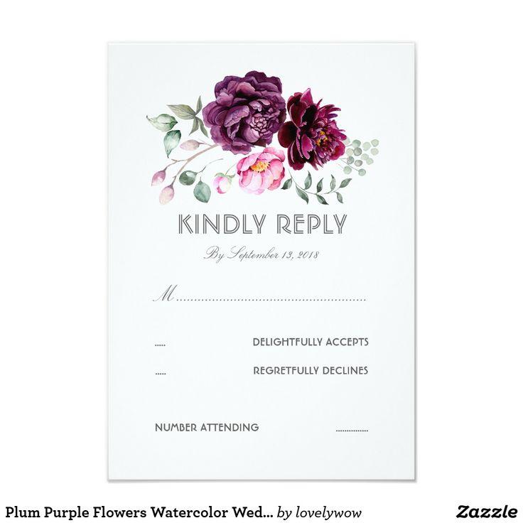 Plum Purple Flowers Watercolor Wedding RSVP Card Watercolor floral bouquet boho chic plum purple wedding reply cards