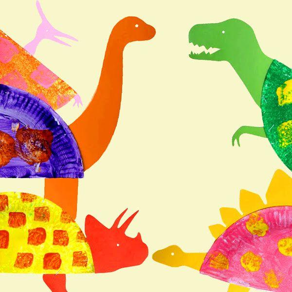 Динозавры из бумажных тарелок. 5 шаблонов.