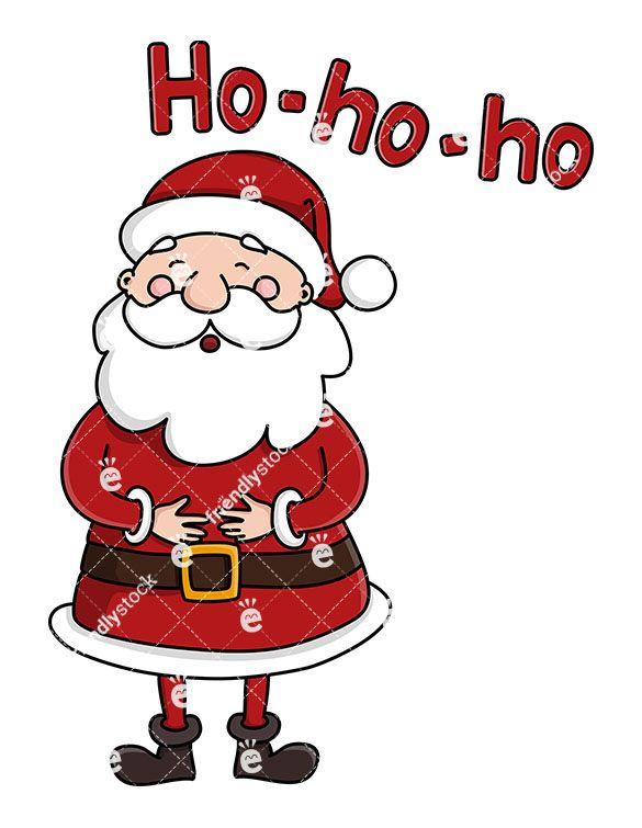 Cute Santa Claus Laughing Ho Ho Ho Cartoon Clipart Vector Friendlystock Cartoon Clip Art Christmas Doodles Christmas Vectors