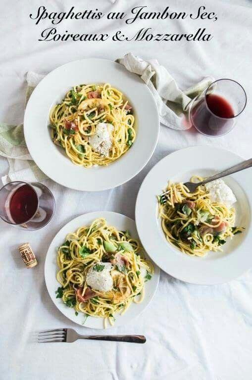 Spaghettis au Jambon Sec, Poireaux & Mozzarella