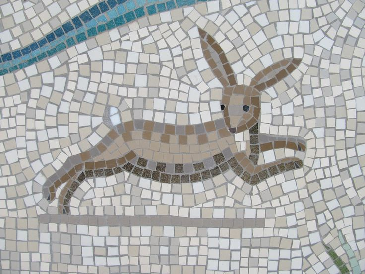 rabbit mosaic detail of shepherdess walk mosaic hackney london