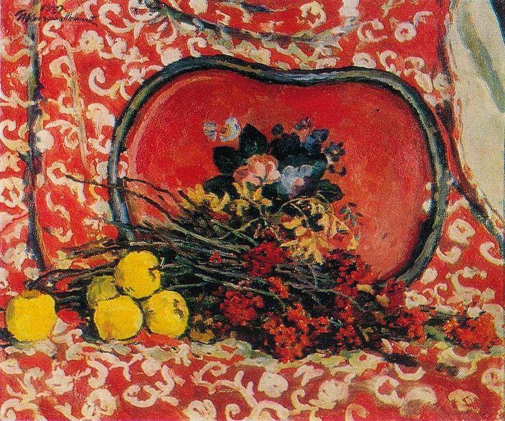 П. Кончаловский. Натюрморт. Красный поднос и рябина. 1947