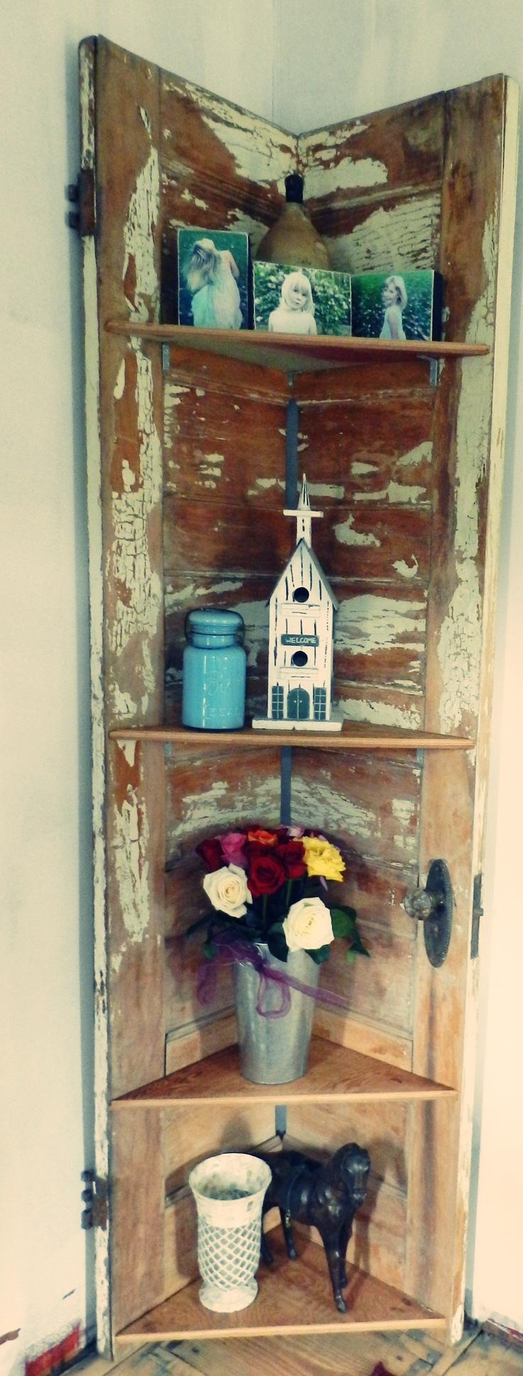 Old Door Corner Shelf...Nailed It!!!!!