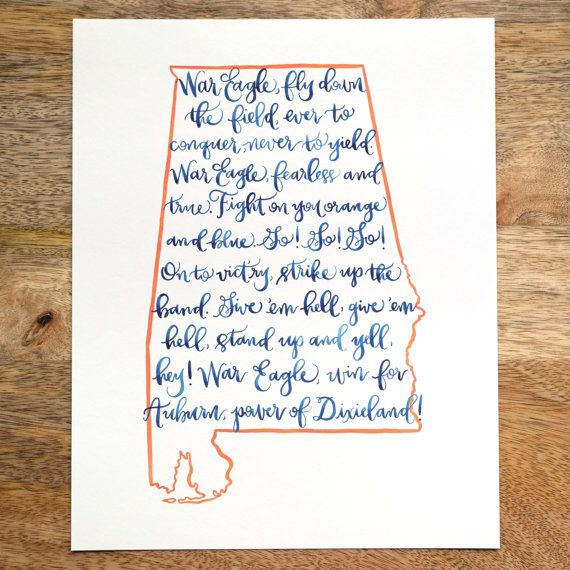 Hey, I found this really awesome Etsy listing at https://www.etsy.com/listing/196059383/auburn-fight-song-print