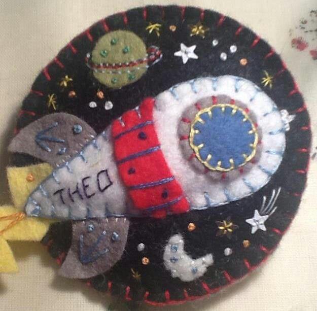 Handmade felt rocket brooch, made for Theo's 6th birthday.