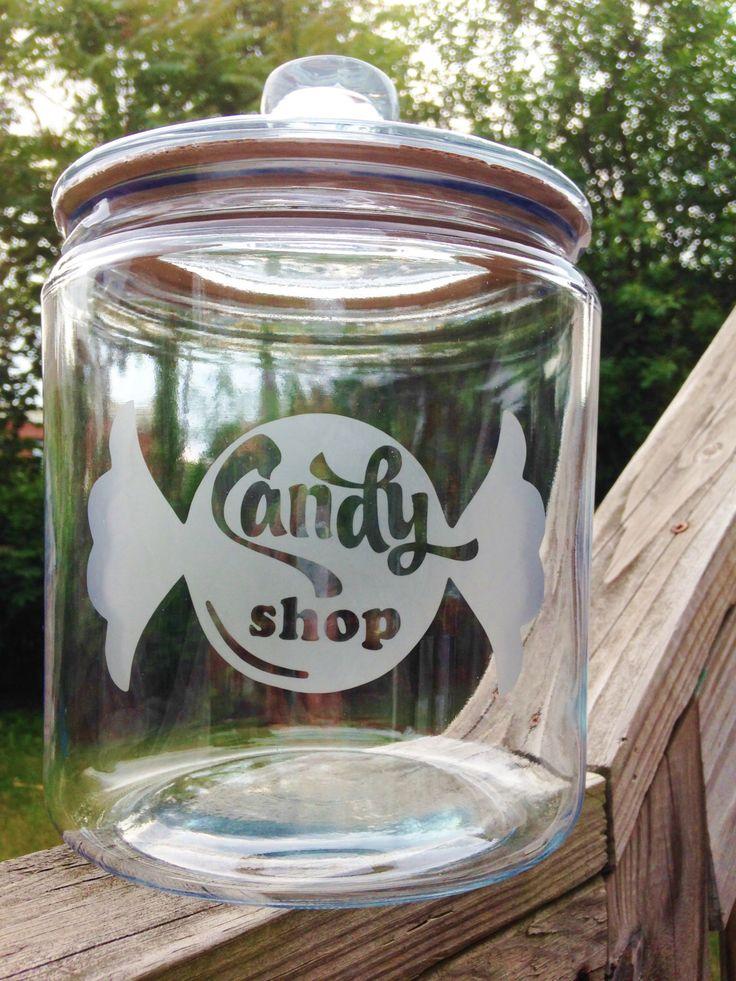 Candy Shop Glass Gallon Jar - 1/2 Gallon or 1 Gallon - Candy Jar, Candy Bar, Cookie Jar, Gallon Jar, Etched Glassware, Glass Jar by UrbanBelleNewYork on Etsy https://www.etsy.com/listing/235516869/candy-shop-glass-gallon-jar-12-gallon-or