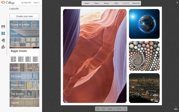 Create a Custom Collage With These Free Photo Collage Makers-PicMonkey is a very intuitive online photo collage maker that lets you open multiple images at once from your computer, Dropbox, Facebook, or Flickr, and you can share your collage to places like Tumbr, Pinterest, and over email.