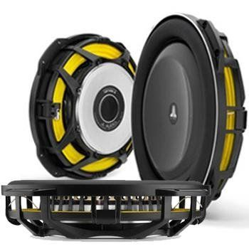 """13TW53 Shallow-mount 13.5"""" 3-ohm Thin-Line Subwoofer Driver by JL Audio. $420.15. 13.5-inch thin-line subwoofer driver (600W, 3 ohm)  13.5"""" 3-ohm subwoofer  radical shallow-mount design with extremely small airspace requirements  mica-filled polypropylene cone with Santoprene rubber surround  cast alloy basket  top-mount depth: 2-1/2""""  power range: 100-600 watts  RMS peak power handling: 1,200 watts  frequency response: 20-200 Hz  sensitivity: 85.87 dB  sealed box volume: 0..."""