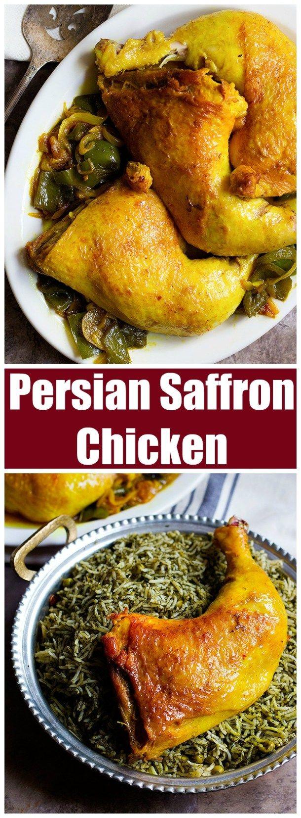 Saffron Chicken | Persian Chicken | Chicken with Saffron | Persian Chicken Recipe | Persian Recipes | Persian food recipes | Persian Cuisine | Middle Eastern Chicken Recipe | Easy Chicken Recipe | Unicornsinthekitchen.com