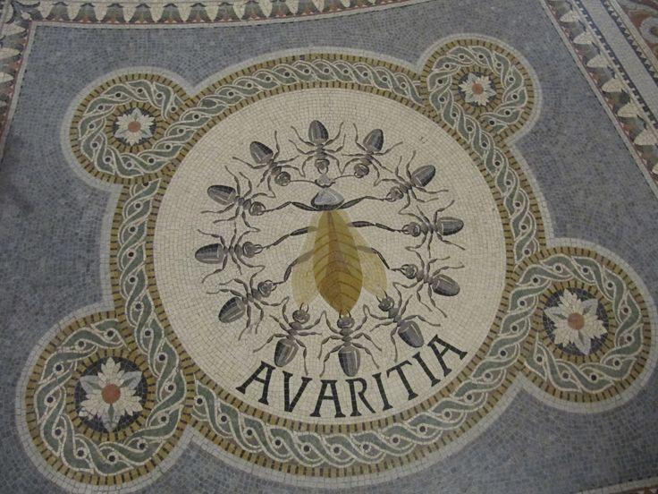 Avaritia (mosaic, Basilique Notre-Dame de Fourvière) - Алчность - мозаика, алтарная часть крипты базилики Нотр-Дам-де-Фурвьер, Лион, Франция