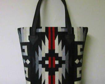 Tote tas emmer zak tas wol zwart leer 5 zakken Indiaanse Print wol uit Pendleton, Oregon