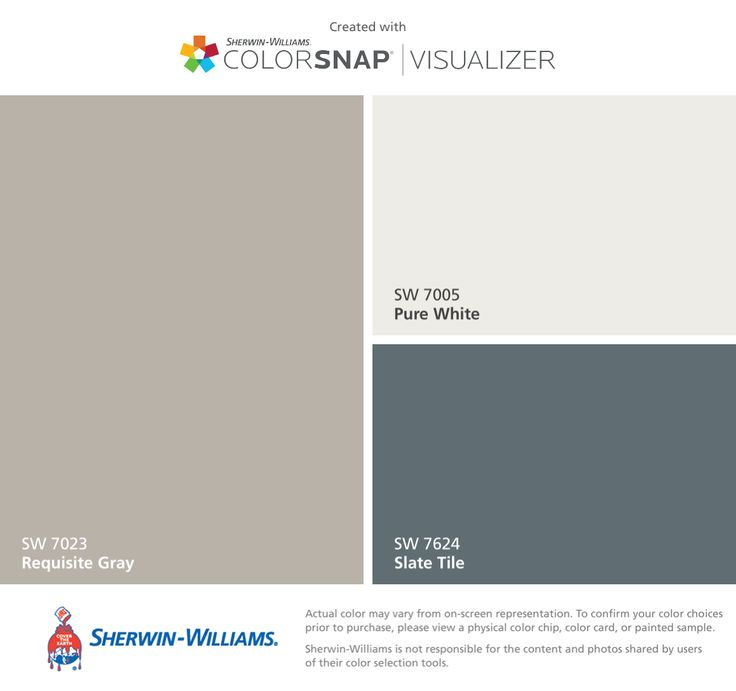 I found these colors with ColorSnap® Visualizer for iPhone by Sherwin-Williams: Requisite Gray (SW 7023), Pure White (SW 7005), Slate Tile (SW 7624).
