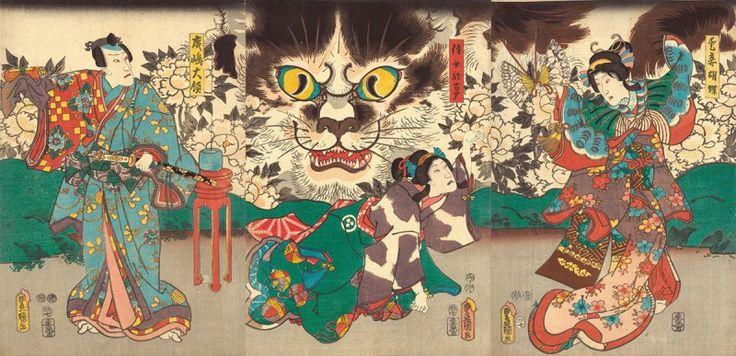 Una de las leyendas más populares es, sin duda alguna, la de nekomata. Los japoneses creían que cuando un gato se hacía mayor se convertía en humano, hablaba y caminaba como un humano y adquiría poderes mágicos, razón por la cual estos gatos-humanos se convirtieron en el personaje número uno de los cuentos populares y leyendas japonesas. Artista: Kunisada