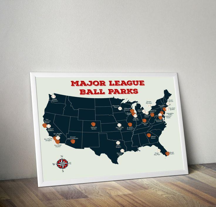 Baseball Stadium Map | Major League Ball Parks Map | U.S. Map | United States Map | Map Art | Baseball Decor | Baseball Wall Art by SuperiorCraftCompany on Etsy