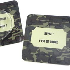 Cadeau apéro Dessous de verre idée cadeau humoristique sous-bock style militaire buvez ! c'est un ordre