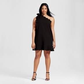 A chic option for work or the weekend, this Women's Plus Black One Shoulder Dress with Bow and Scallop Trim by Victoria Beckham for Target is the perfect combination of fun and fashion-forward styles. The Victoria Beckham collection for Target celebrates the shared experiences between Victoria and her daughter. The result is a look that's fashionable, yet free-spirited and timeless.